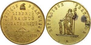 O8166 Médaille Révolution République Francaise 23 24 février 1848 Superbe