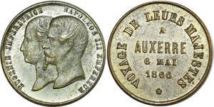 O8216 Médaille Eugénie Napoléon III Empereur Visite Majestés Auxerre 1866