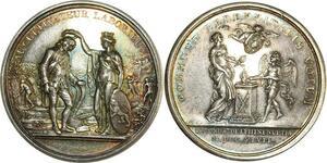 O8231 Rare Médaille Constitution Louis XVI cultivateur dupré 1789 Argent SUP