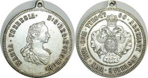 O8240 Austrian Medal Archiduchesse Marie Therese 1760 Silvered AU Superbe
