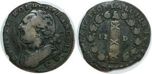 O8346 Rare Constitution 2 sols François an 4 Louis XVI 1792 Q Perpignan
