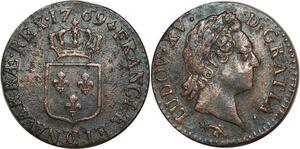 O8451 Demi sol Louis XV vieille tête 1769 CC Besançon ->Make offer