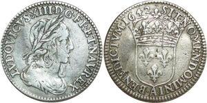 O8478 Rare 1/12 Ecu Louis XIII 2eme p Warin 1642 Point Argent TTB