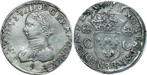 O8551 Rare Teston Henri III Charles IX Teston 2e type 1575 9 Rennes Argent