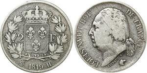 O8708 Rare 2 Francs Louis XVIII 1819 H La Rochelle Argent Silver ->M offre