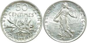 O8870 50 Centimes Semeuse 1901 Argent SUP + ->Make offer