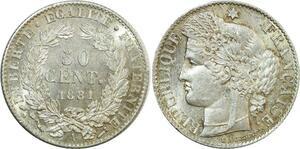 O8917 Rare 50 Centimes Cérès 1881 A Paris Argent FDC ->Make offer