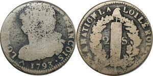 O8974 Rare 2 Sols Louis XVI François 1793 R Orléans ss lettre atelier ->M offre