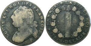 O9144 Rare 12 Deniers Louis XVI François an 5 1793 R Orléans angle