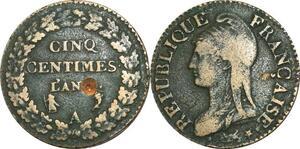 O9265 Directoire 5 Centimes dupré an A Paris Percé ->Make offer