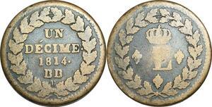 O9486 Un Décime Napoléon L couronné 1814 BB Strasbourg .. ->Make offer