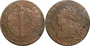O9526 Constitution 3 Deniers Louis XVI François an 4 1792 D Lyon 2nd sem