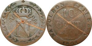 O9757 Faux d'époque 10 Centimes Napoléon I 1808 M Toulouse ->Make offer