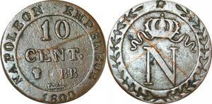 O9781 Rare Faux 10 Centimes Napoléon I 1800 BB Strasbourg ->Make offer