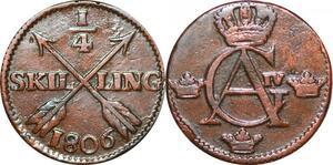 O9943 Sweden ¼ Skilling Gustav IV Adolf Avesta mint 1806 -> Make offer