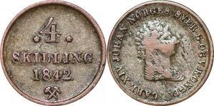 O9958 Norway 4 Skilling Carl XIV 1842 Silver -> Make offer