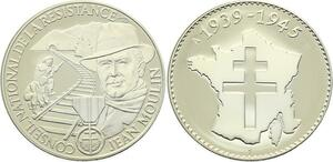 O4156 Medaille Jean Moulin Conseil National Résistance 1939-1945 Proof PF BE