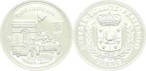 O4193 Medaille Paris Libéré 1944 Arc Triomphe Char Argent BE Proof