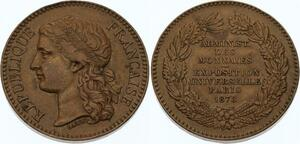 O4503 Medaille Administration Monnaies Exposition Universelle Paris 1878