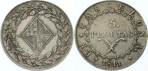 O4512 Scarce !! Spain Joseph Napoléon 5 pesetas 1812 Barcelone AU !! ->M offer