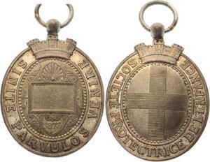O4574 Medaille Société Protectrice Enfance Sinite Parvulos Venire 1873