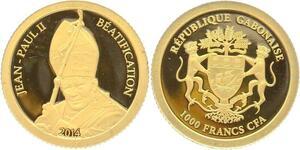 O4983 Gabon 1000 Francs CFA John Paul II 2014 Or Gold 999% BE PF Proof
