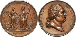 O5108 Rare Medaille Louis XVIII Louis XVIII récomp. Industrie 1823 Gayrard SUP