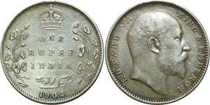 O5127 India British Rupee Edward VII 1904 B Bombay Silver ->Make offer