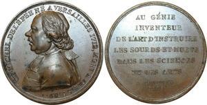 O5237 Rare Medaille Med Michel de l'Épée 1805 duvivier Sourd Muet desnoyers SPL