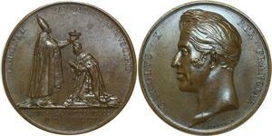 O5251 Medaille Charles X sacre Reims 1825 Gayrard Baron desnoyers SPL