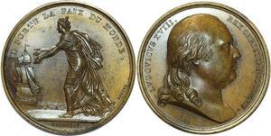 O5254 Rare Medaille Louis XVIII Exil Calais 1814 Andrieu Baron desnoyers SPL