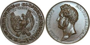 O5270 Medaille Louis-Philippe Garde nationale 1830 Caqué Baron desnoyers SPL