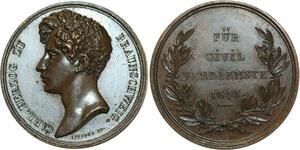 O5278 Scarce German Medal herzog Braunschweig 1815 Leveque Baron desnoyers UNC