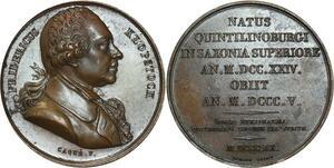 O5291 Scarce Medal Klopstock Friedrich German Poet Caqué 1820 desnoyers SPL