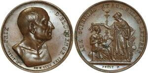 O5362 Rare Medaille Prix D'éloquence 1822 Sciences Belles Lettres desnoyers SPL