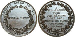 O5367 Rare Medaille Arnoud Académie Royale Gard 1828 Baron desnoyers SPL