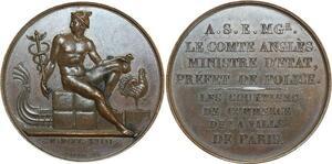 O5435 Rare Medaille Comte Angle Ministre Police Paris 1818 Galle desnoyers SPL