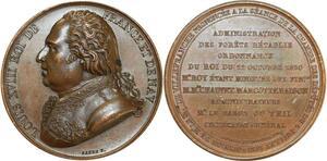 O5445 Rare Medaille Louis XVIII Chambre deputés Forêts Baron desnoyers SPL