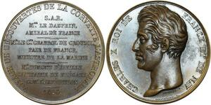 O5454 Rare Medaille Charles X corvette Astrolabe 1826 Baron desnoyers SPL