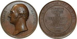 O5485 Scarce GB Medal George Canning Tribute 1827 Baron desnoyers SUP