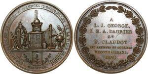 O5490 Medaille George Daurier Sciences industrielles 1830 Nancy desnoyers SPL