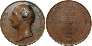 O5494 Scarce GB Medal George Canning Tribute 1827 Baron desnoyers SPL