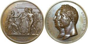 O5497 Rare Coffret Medal Louis XVIII Charles X Palais Bourse 1825 desnoyers FDC