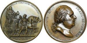 O5502 Rare Medaille Louis XVIII 2nd Entrée Roi Paris Puymaurin 1815 desnoyers