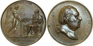 O5505 Rare Medaglia Italy Louis XVIII Jeuffroy Optimo 1795 Verona desnoyers