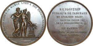 O5535 Rare Medaille Exposition charité Beaux-Arts Grec Lyon 1826 desnoyers SPL