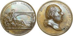 O5536 Rare Medaille Louis XVIII Pont Dordogne Andrieu 1820 desnoyers SPL!!