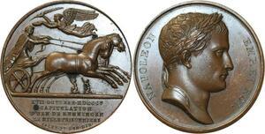 O5559 Rare Medal Napoleon I 1806 Droz Jaley Ulm Memmingen Baron desnoyers SPL