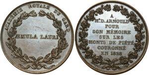 O5678 Rare Medaille Academie Gard Arnoud Monts Piété 1828 Baron desnoyers SPL