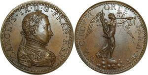 O5777 Rare Medaille Charles IX 1550 1574 Guillaume Martin Baron desnoyers SPL